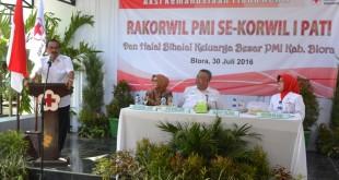 Bupati Blora Djoko Nugroho membuka pelaksanaan Rakorwil PMI se-Korwil I Jateng di Taman Sarbini Blora, Sabtu (31/7).